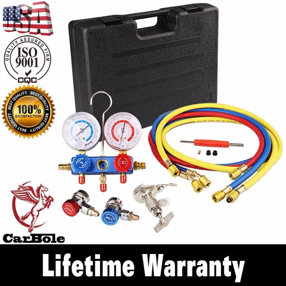 CARBOLE R134A HVAC A/C Refrigeration Kit AC Manifold Gauge Set Auto service Kit diagnostic-tool