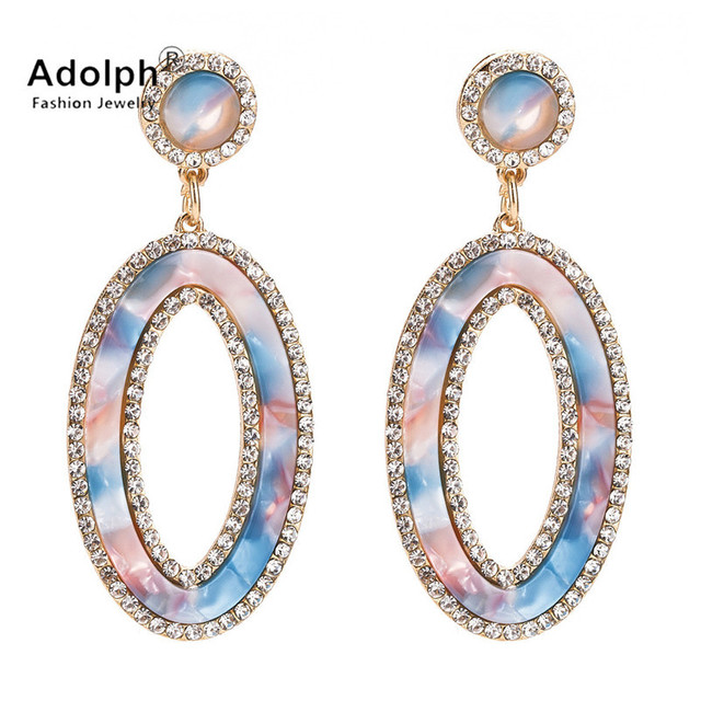 2f3c54dc4d04a adolph fashon star jewelry Bohemian Crystal oval Drop Earring For Woman New  Extendy Luxury Handmade Dangle Earrings Femme Gift