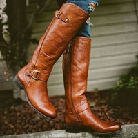 2017 New Spring Autumn Winter Boots Women Ladies Waterproof Leather Thigh High Boots Low Heel Buckle