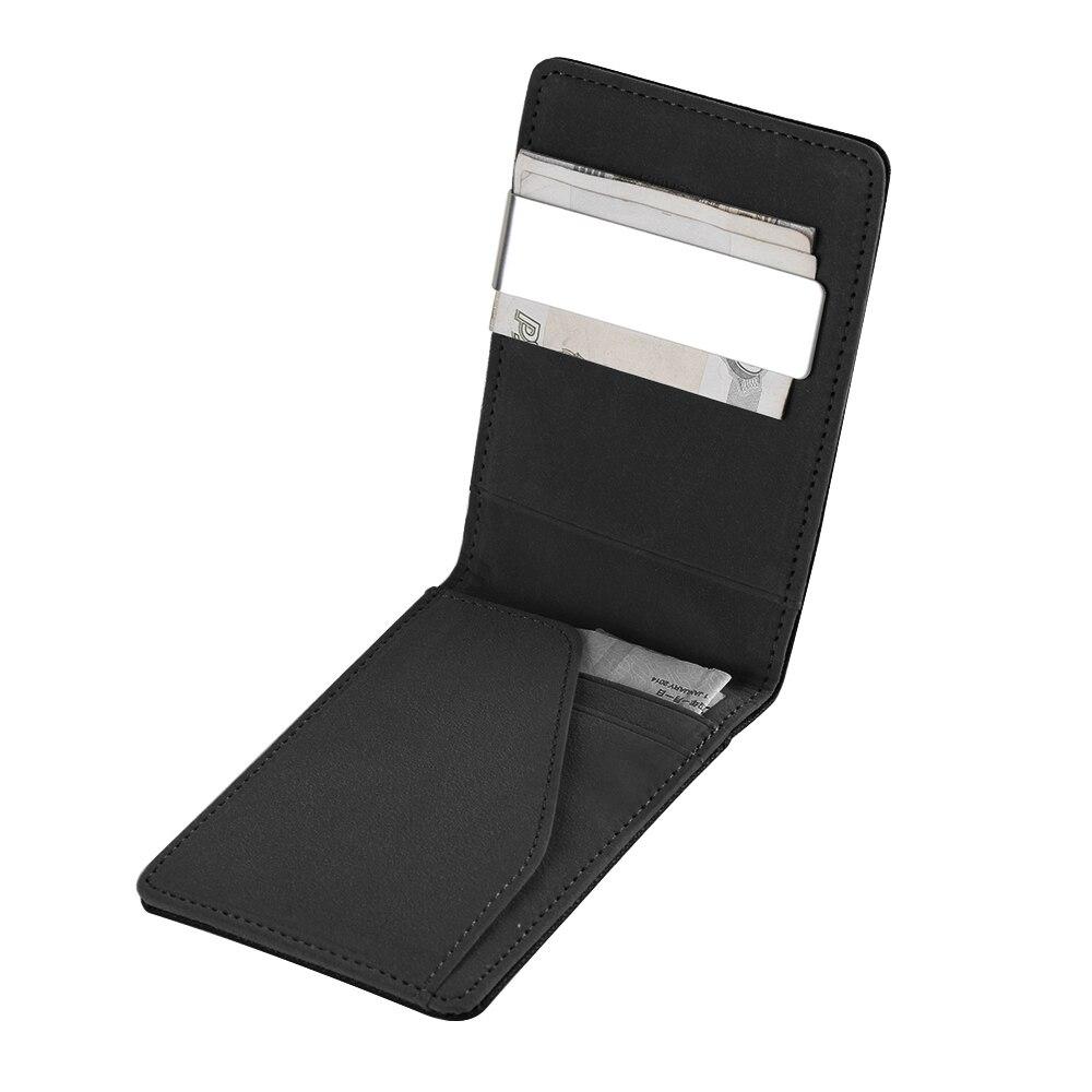 1 StÜck Männer Mode Leder Kartenhalter Schlanke Brieftaschen Schwarz Id Kreditkarteninhaber Bifold Geldbeutel Edelstahl Sparen Sie 50-70%