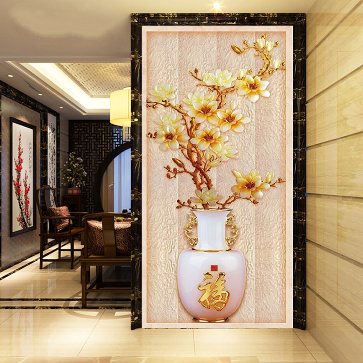 NEW custom Chinese style jade carving vase 3D large mural luck corridor wallpaper bedroom living room TV backdrop wall paperNEW custom Chinese style jade carving vase 3D large mural luck corridor wallpaper bedroom living room TV backdrop wall paper