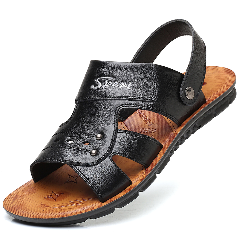 Men Slippers Brown Casual Solid Sandals Plus Size Leather Summer Beach Shoes