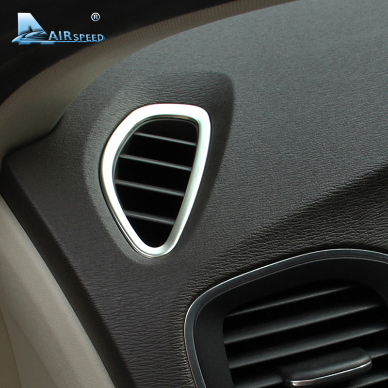 Airspeed For Volvo V40 Accessories For Volvo V40 2012 2013 2014 2015 2016 2017 Stickers Interior Stainless Steel AC Outlet Frame