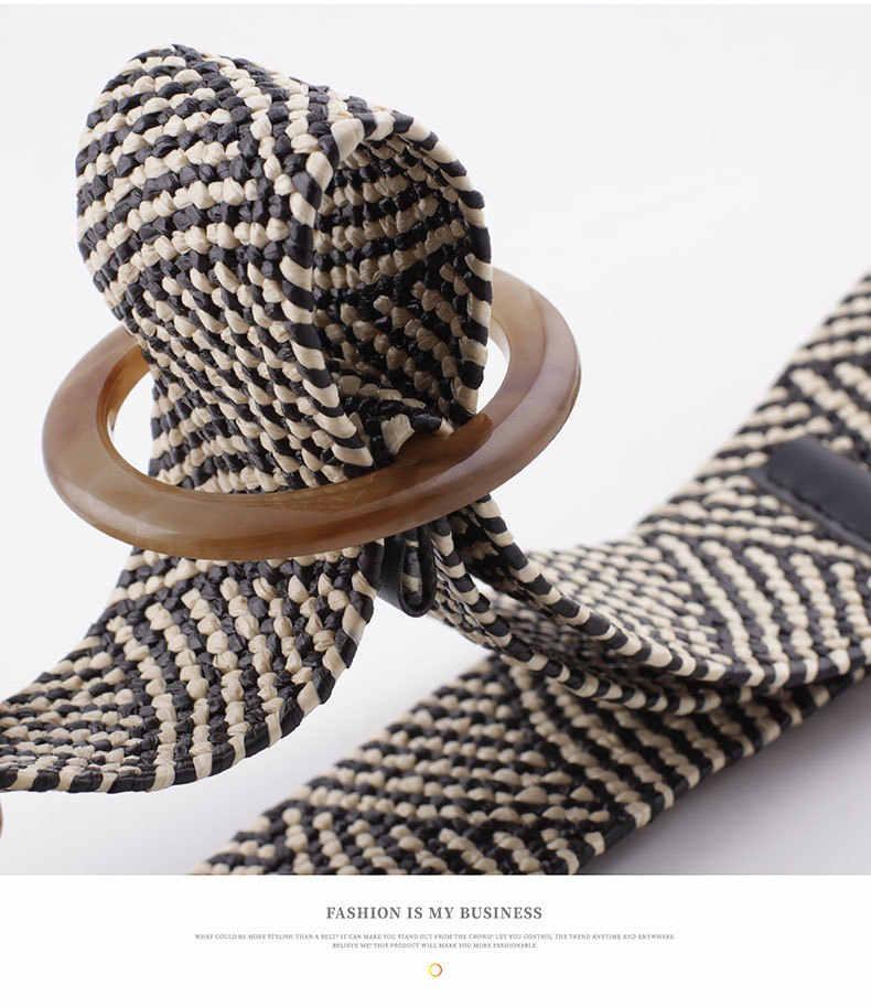 Damski z plecionej słomy elastyczny pas dziewczyna wakacje nad morzem czeski etniczny styl okrągły kwadrat przycisk wosk liny tkane szeroki pas pasek