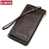 KAVIS Genuine Leather Wallet Men Male Clutch Phone Bag Coin Purse Walet Portomonee Long Clamp for Money Handy Card Holder Strap