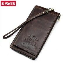 KAVIS Genuine Leather Wallet Men Male Clutch Phone Bag Coin