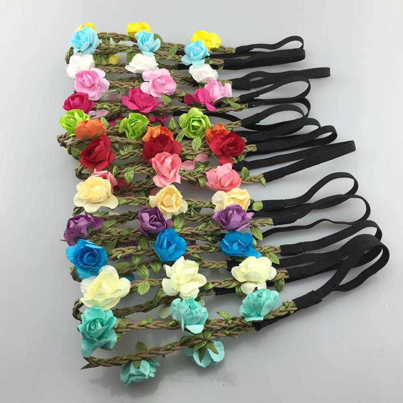 Girl's Accessories Sweet-Tempered 7pcs/lot14color Handmade Bohemia Braid Flower Headbands For Girl Elastic Flower Crown Headband Women Hair Accessories Headwear Girl's Hair Accessories