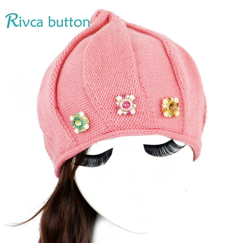 Rivca Snap Button Jewelry Autumn Winter Beanies 18mm Snap Button Hats Unisex Knitted Hats Solid Colors Ski Gorros Cap P01112