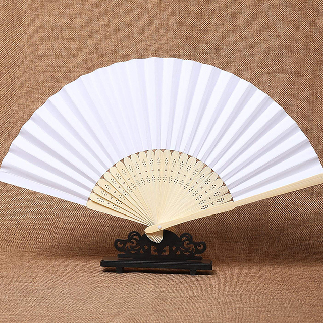 50pcs/lot White Bamboo Folding Paper Hand Pocket Fan Chinese Fan Wedding Favors Birthday Gifts Party Decoration Home Decor 21cm