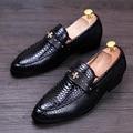 Grano del cocodrilo hombres de lujo británica oficina partido suave de cuero real zapatos adolescente slip-on de conducción perezosos zapato oxford mocasines masculinos
