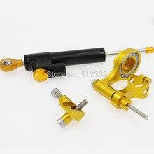For YAMAHA R6 06 15 Gold CNC Adjustable Motorcycle Steering Damper Stabilizer Linear Reversed Bracket Kit