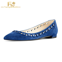 2017 Fashion Black Navy Silver Studs Embellishment Pointed Toe Autumn Shoes Comfortable Causal Women Flats Shoes