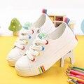Kids shoes para a menina de lona crianças shoes meninos doce cor laces 2017 primavera outono tênis branco crianças único shoes meninas