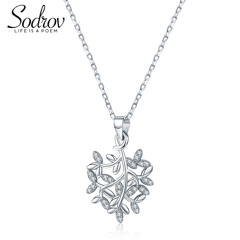 SODROV 925 Sterling Silver Unique Leaves Pattern Brief Pendant Necklaces for Women Charming Fine Jewelry HN007 Personalized