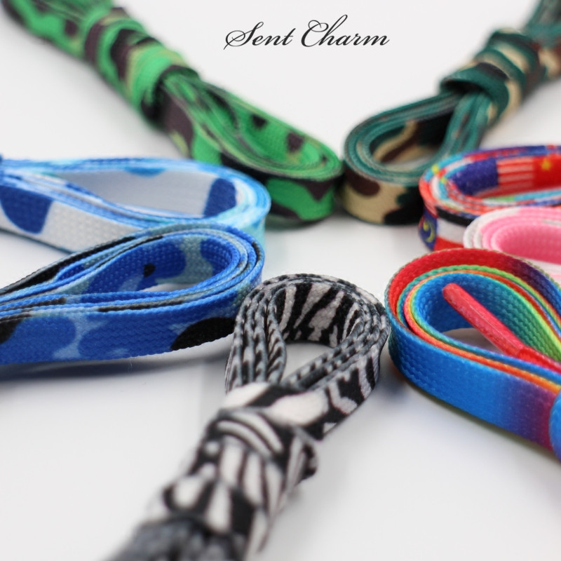 SENTCHARM 140CM/55'' Colorful Canvas Shoelace Gradient Color Rainbow for White Shoes Free Shipping цена и фото