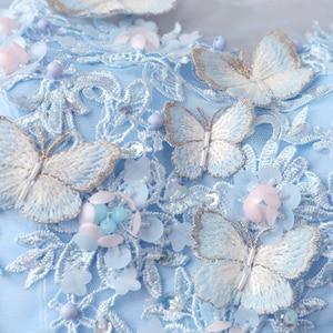 Image 5 - Robe De soirée en Tulle, robe longue, dentelle bleue, perles ligne a, robe De bal, papillon, Stock