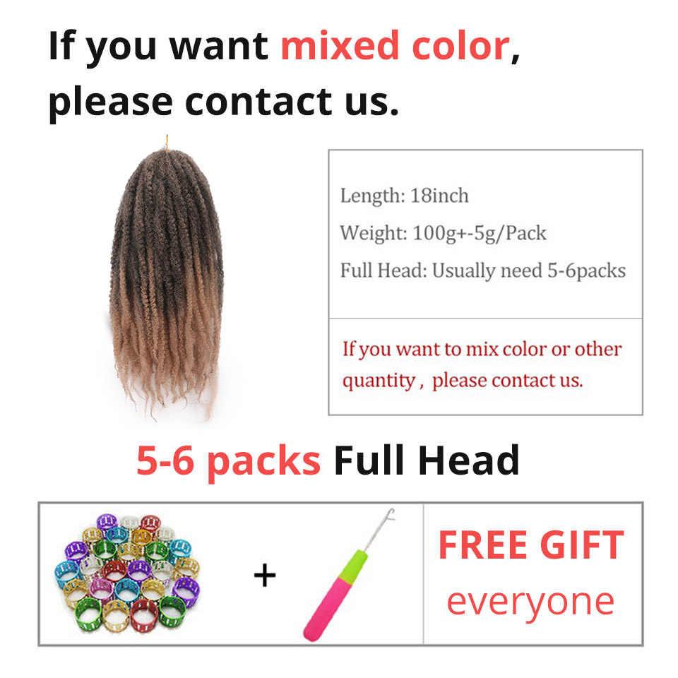 Marley плетеные косы волосы синтетические косички для наращивания афро Омбре плетение волос для женщин 18 дюймов черный