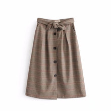 single breasted long plaid skirt saia longa sashes skirts womens 2018 new fashion brand women skirt saias jupe faldas mujer(China)