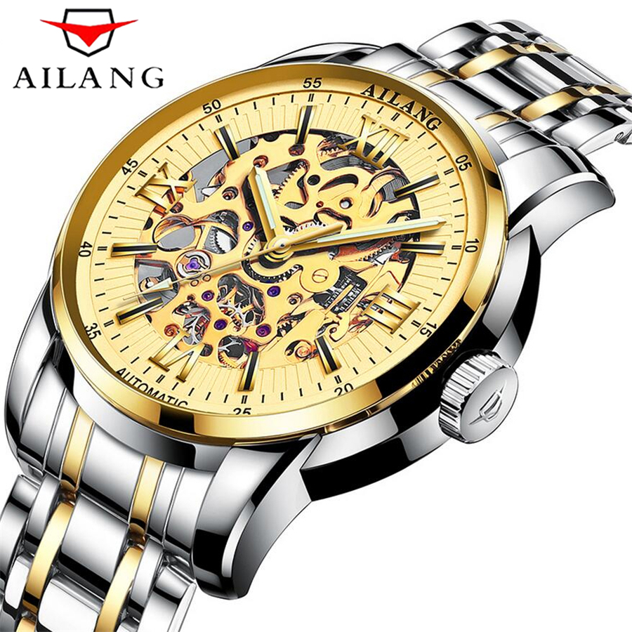 AILANG Skeleton Mechanical font b Watch b font Luxury Men Gold Waterproof Fashion Casual font b