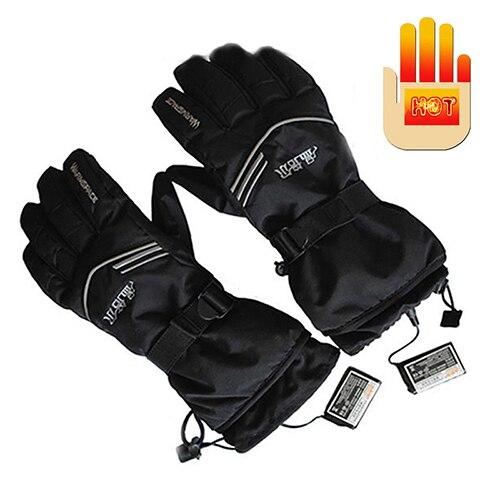 1 paire de gants chauffants électriques de travail en plein air gants chauds de Ski d'hiver W/2000 mAh batterie Rechargeable