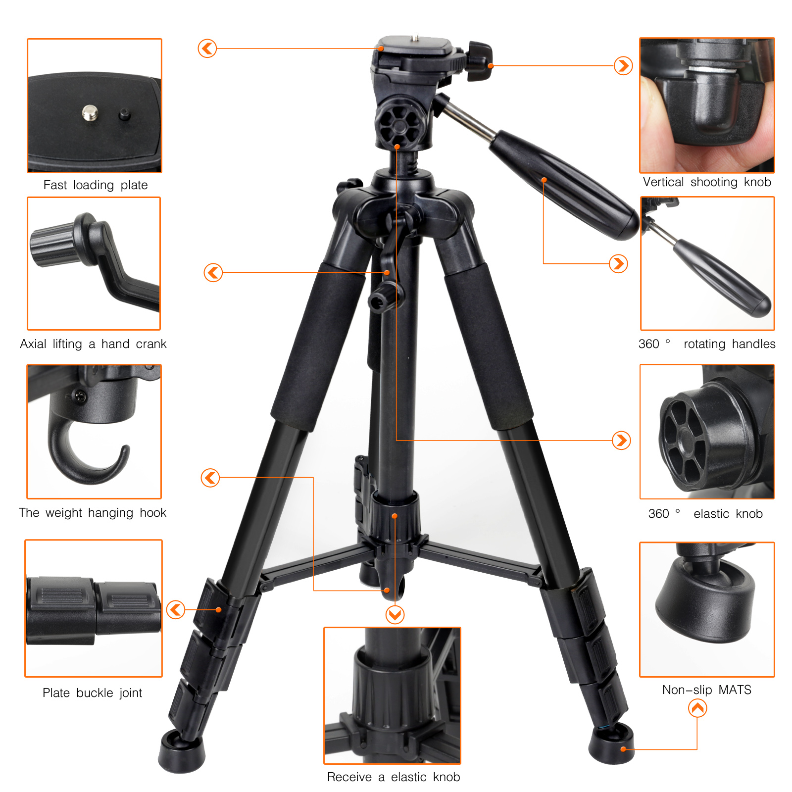 ФОТО Pro Universal Adjustable Aluminium Camera Tripod with Pan Head for DSLR Digital Camera Camcorder Black