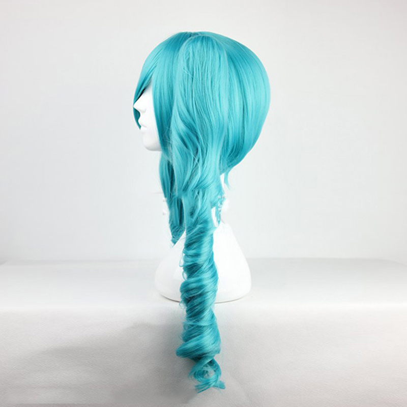 HAIRJOY Green Vocaloid Miku Cosplay Wig Two Braids Long Curly Ponytails Synthetic Hair Wigs for Sugar Plum Mercy from Overwatch 2