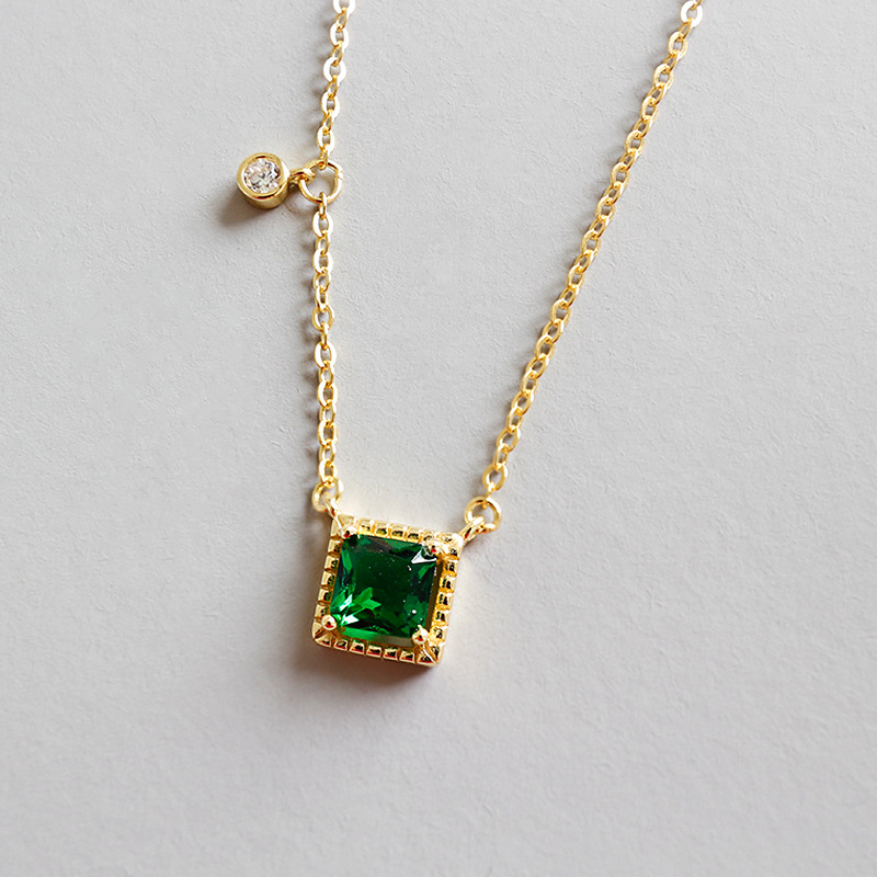 Authentic 100% 925 Sterling Silver Gild Color Necklace Pendant For women Green Zircon Fine Jewelry Necklace For Birthd Gift