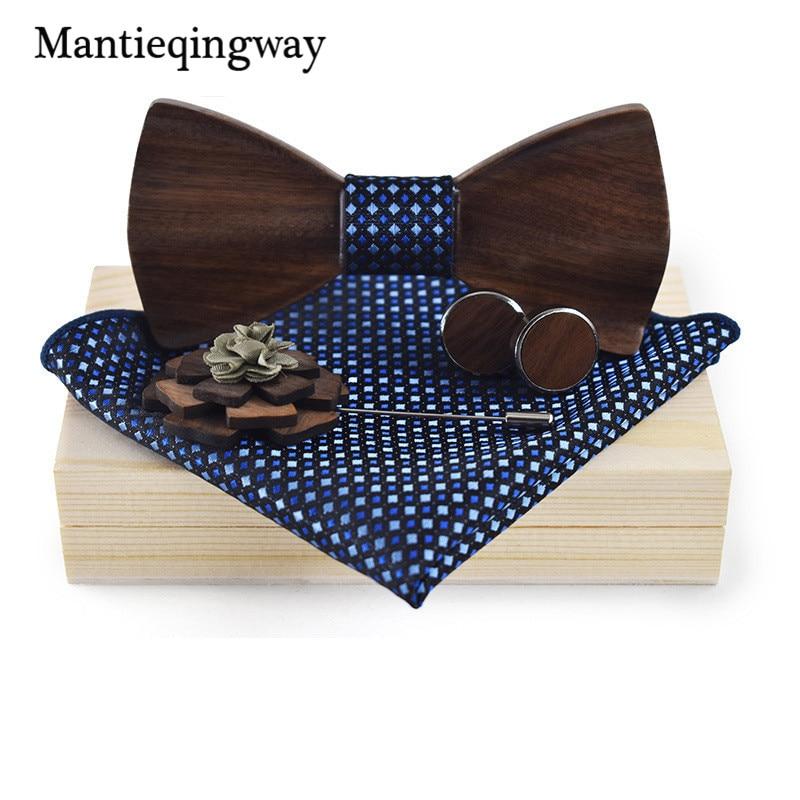 Mantieqingway Bois Bowtie + Mouchoir + Broche + Jeux de boutons de Manchette pour Hommes Costume En Bois Bowtie Floral Imprimé Arc Cravate Bowknots cravate