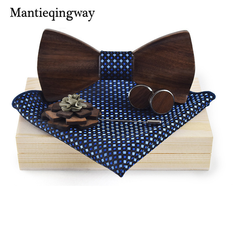 Mantieqingway Wood Bowtie+Handkerchief+Brooch+Cufflinks Sets for Mens Suit Wooden Bowtie Floral Printed Bow Tie Bowknots Cravat