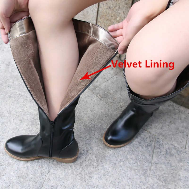 Meotina Winter Vrouwen Rijlaarzen Chunky Lage Hak Motorlaarzen Schoenen Zip Gesp Herfst Vrouwen Hoge Laarzen Geel Big Size 9 10