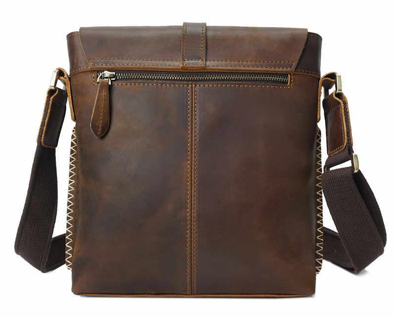 Nesitu brązowy w stylu Vintage gruby trwała szalony koń skóra skórzana torebka na ramię prawdziwej skóry małe mężczyźni Messenger torby człowiek torba M8086