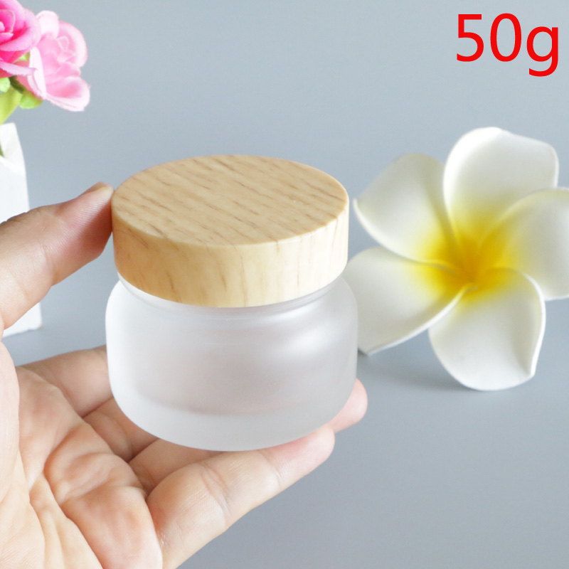 Купить с кэшбэком 50g Bamboo Cap Wood Lid Glass Frosted White Cosmetic Cream Packaging Bottles for Makeup Eye Face Skin Care Lotion Mask 6pcs/lot