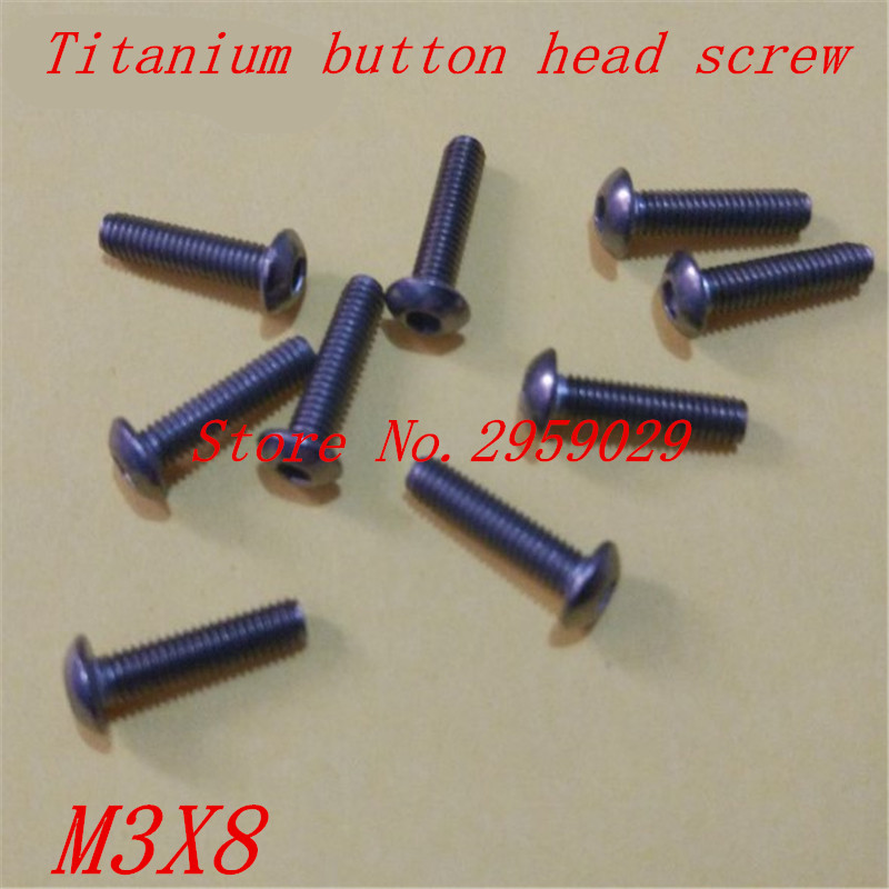 50PCS ISO7380  m3*8 M3 x 8mm titanium hex socket button head screw 50pcs lot iso7380 m3 x 6 pure titanium button head hex socket screw