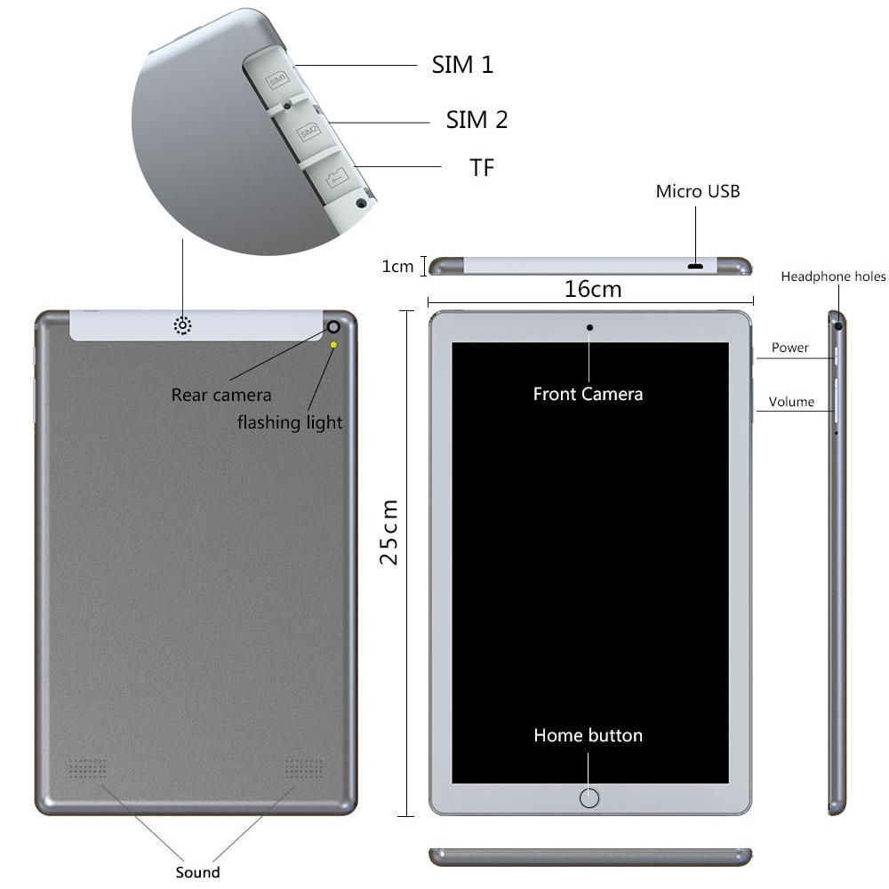 כיריים שניי להבות ANRY Tablet 1006 10 אינץ PC 4G אנדרואיד 7.0 טבליות סופר Core אוקטה 4 GB זיכרון RAM 64 SIM GPS GB רום WiFi משחק לוח IPS MTK כפול (3)