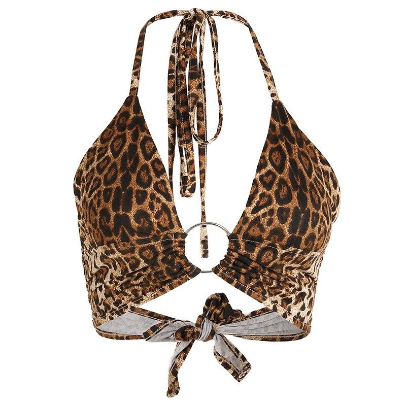 HEYounGIRL Leopard Print Tank Tops Tees Sexy Halter Crop Top Women Sleeveless Cropped Top Backless Streetwear