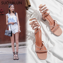 SUOJIALUN Women Sandals 2019 Fashion Sexy Rhinestone Mid Heel Tied Party Breathable Ladies Slies Square Rome Casual Shoes