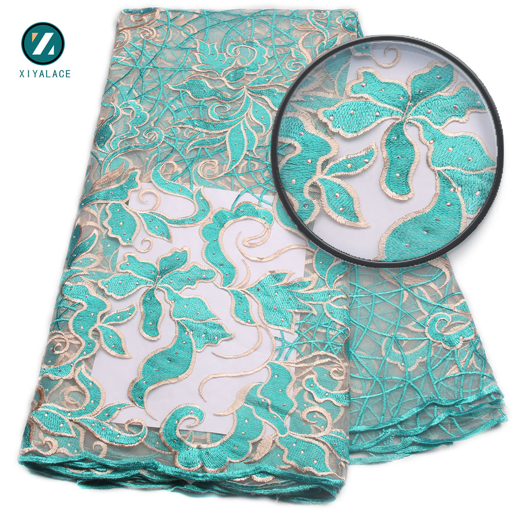 Teal Latest Nigerian Lace 2017 African French Lace Fabric High Quality Embrodery African Tulle Lace With Stones PGC819b-2