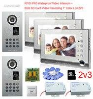 Rfid Video Intercom For The House 2 Cửa 3 Đơn Vị Cửa Video Intercom 8-GB Thẻ SD Video Ghi Âm 7