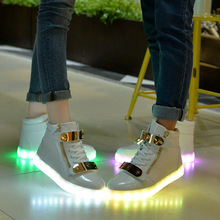 New Fashion Colorful LED Light Shoes Unisex Men And Women Couples Fluorescent Luminous Shoes USB Charging Shoes 5-4 free shipping led shoes men valentine fashion usb rechargeable light up for adults 7 colors luminous men led shoes