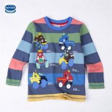 Детская одежда с длинным рукавом embriodery красочные паттен 100% хлопок мальчик футболка nova дети новый дизайн 2016 горячей продажи Детей тройники