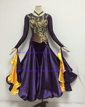 ballroom dance dress hight class stone skirts purple Waltz Tango Flamenco  dancing costume
