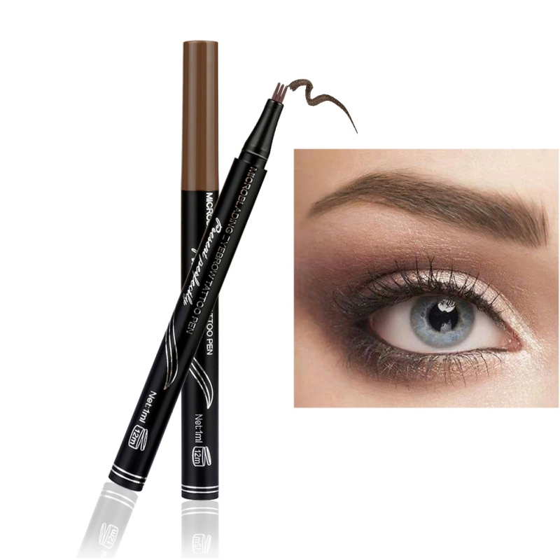 Hot Sell 3 Color Microblading Eyebrow Tattoo Pen with 3D Fork Tip Sweat-proof Waterproof Long Lasting Eyebrow Pencil