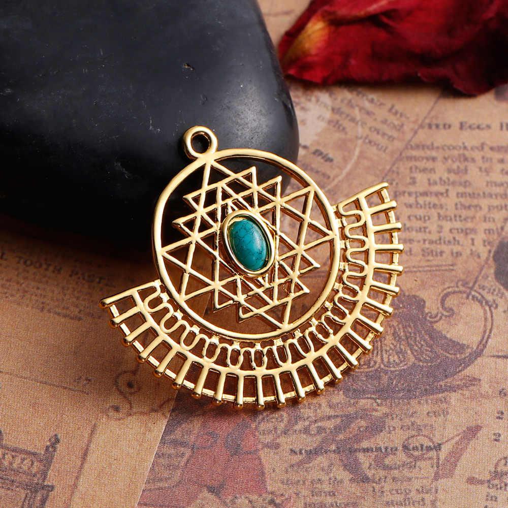 8 季節銅スリランカ Yantra 瞑想ペンダント扇形のゴールド色の樹脂カボション作成宝石石 35 ミリメートル × 31 ミリメートル、 1 ピース