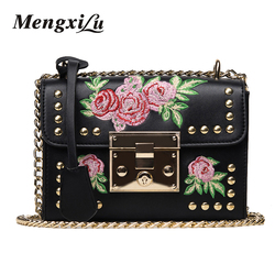 Women embroidery flower flap bag designer pu leather fashion rivet messenger bags feminina ladies small shoulder.jpg 250x250