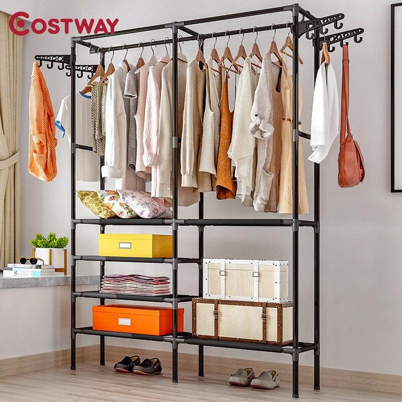 COSTWAY Clothes Coat Rack Floor Hanger Storage Wardrobe