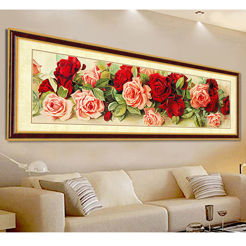 New Style Diamond Painting Flowers Full Needlework Rose Shine Rubiks Cube Diamond Embroidery 5 Size Home Decor ...