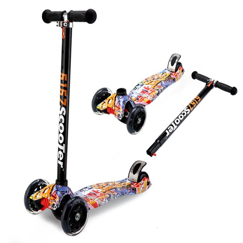 Enfants scooter 2-3-4-6-12 ans Flash roue enfants vélo vieux enfant yo voiture à quatre roues bébé jouet scooter pliant glisser frein de sécurité