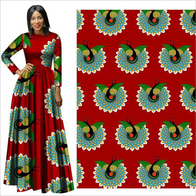 Me-dusa 2019 newest red peacock African Print Wax Fabric 100% cotton Hollandais Wax Dress Suit cloth 6yards/pcs High quility(China)