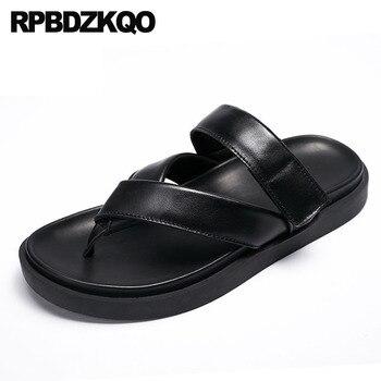 black strap slides genuine leather famous brand slippers flat sandals beach designer shoes men high quality summer breathable