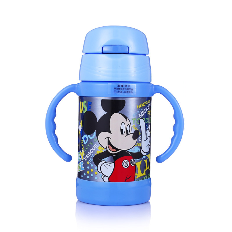 Disney 260ml Kids Feeding Cup With Straw Thermoses Vacuum Kettle With Handle Leak Proof 304 Stainless Steel Bottle Mickey